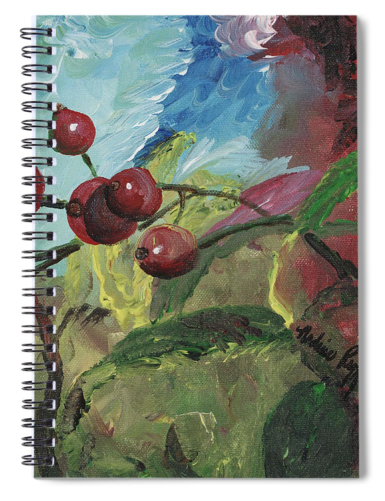Berries Spiral Notebook featuring the painting Winter Berries by Nadine Rippelmeyer