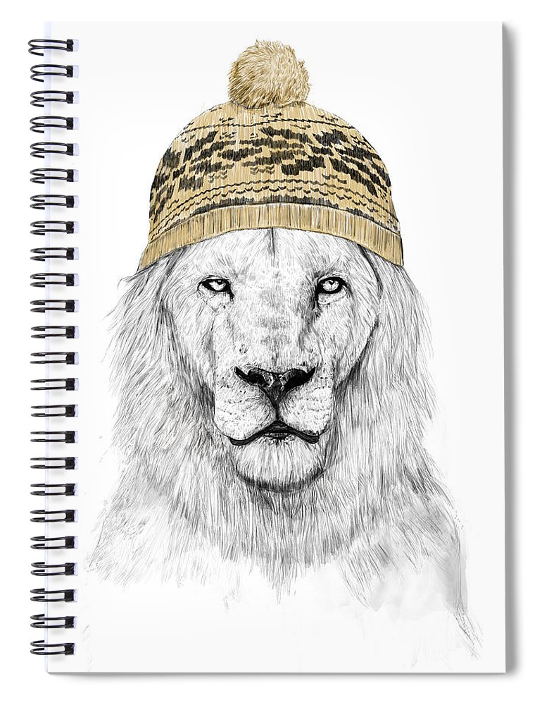 Lion Spiral Notebook featuring the drawing Winter lion by Balazs Solti