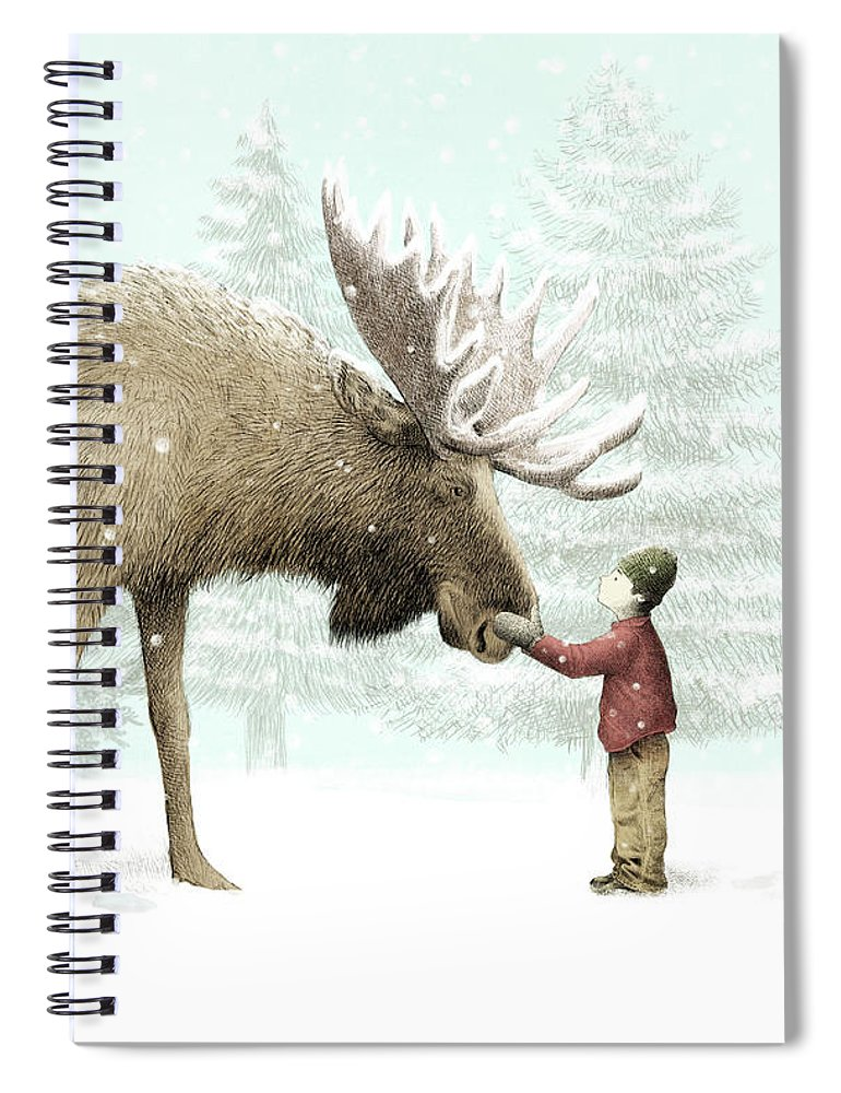 Moose Spiral Notebook featuring the drawing Winter Moose by Eric Fan