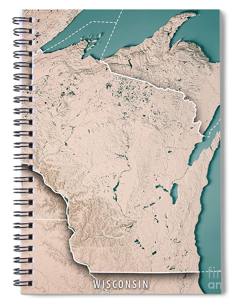 Wisconsin State Usa 3d Render Topographic Map Neutral Border Spiral