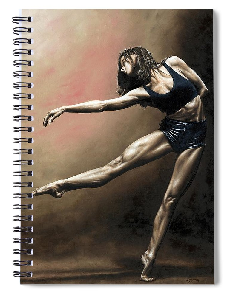 Dancer Spiral Notebook featuring the painting With Strength And Grace by Richard Young