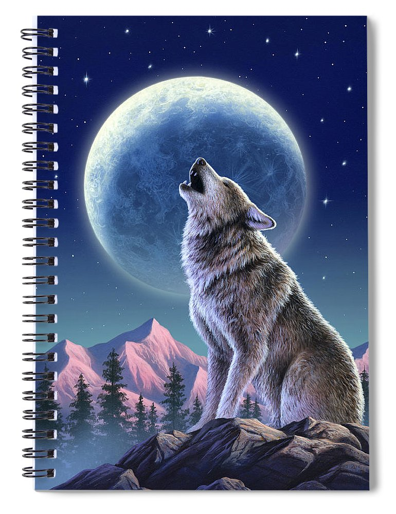 Wolf Spiral Notebook featuring the mixed media Wolf Moon by Jerry LoFaro