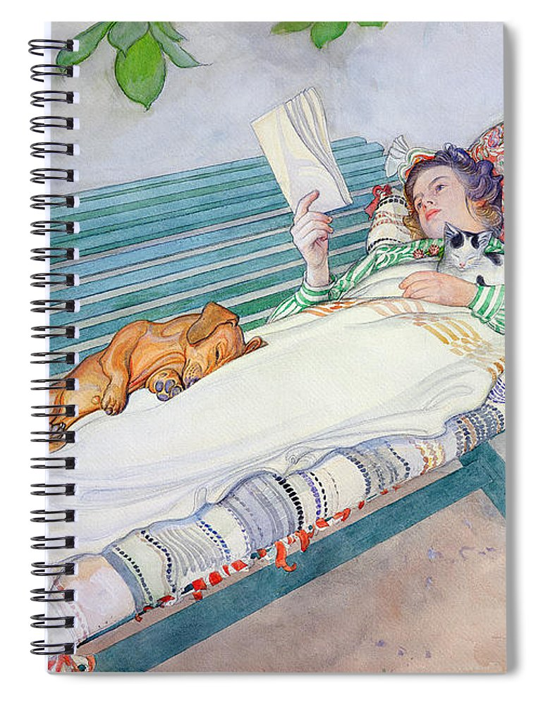 Woman Spiral Notebook featuring the painting Woman Lying On A Bench by Carl Larsson