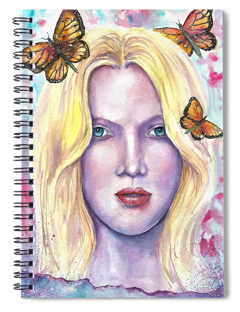 Original Painting Spiral Notebook featuring the painting Women Face beauty by Natalja Picugina