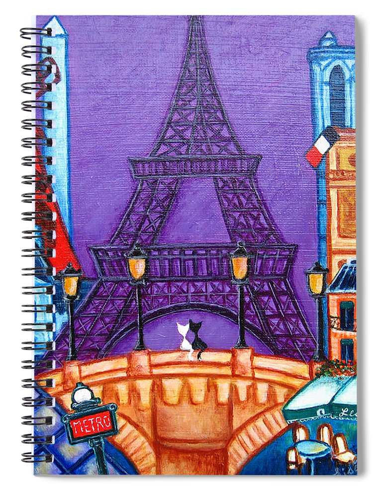 Paris Spiral Notebook featuring the painting Wonders of Paris by Lisa Lorenz