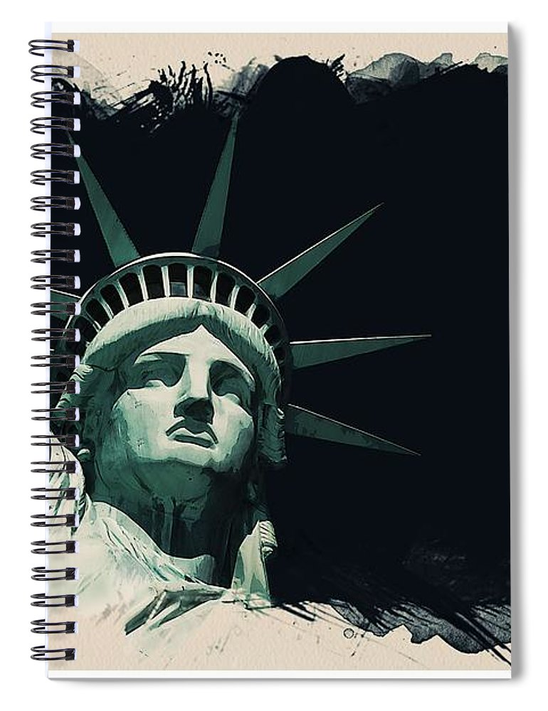 Statue Spiral Notebook featuring the painting Wonders Of The Worlds - Lady Liberty Of New York 2 by Celestial Images