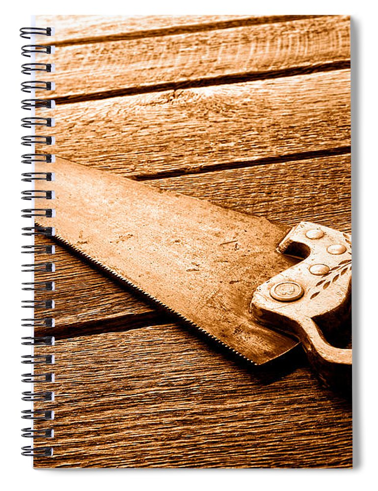 Carpenter Spiral Notebook featuring the photograph Wood Saw - Sepia by Olivier Le Queinec