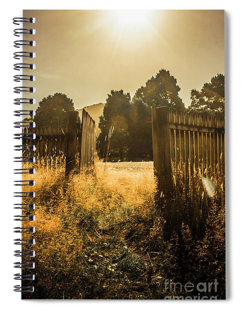 Shabby Spiral Notebook featuring the photograph Wooden Fence With An Open Gate by Jorgo Photography - Wall Art Gallery