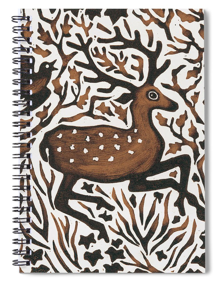 Deer Spiral Notebook featuring the painting Woodland Deer by Nat Morley