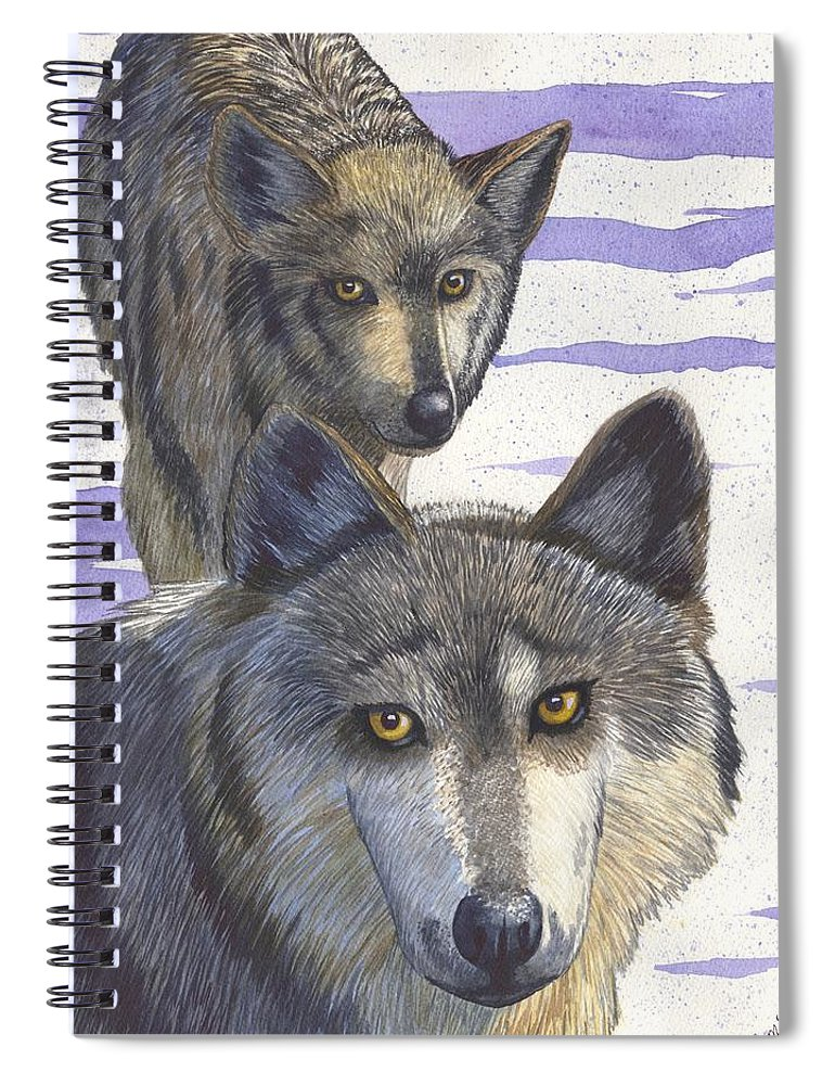 Wolf Spiral Notebook featuring the painting Woofies by Catherine G McElroy