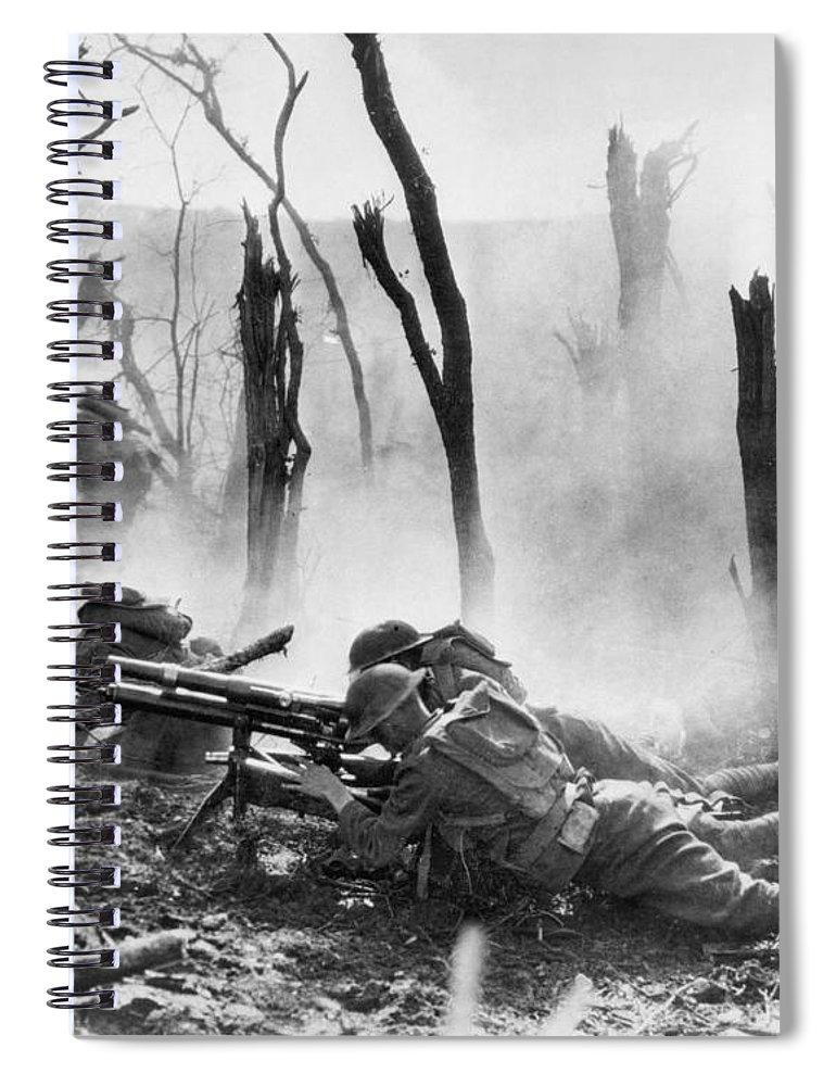 1918 Spiral Notebook featuring the photograph World War I: Battlefield by Granger