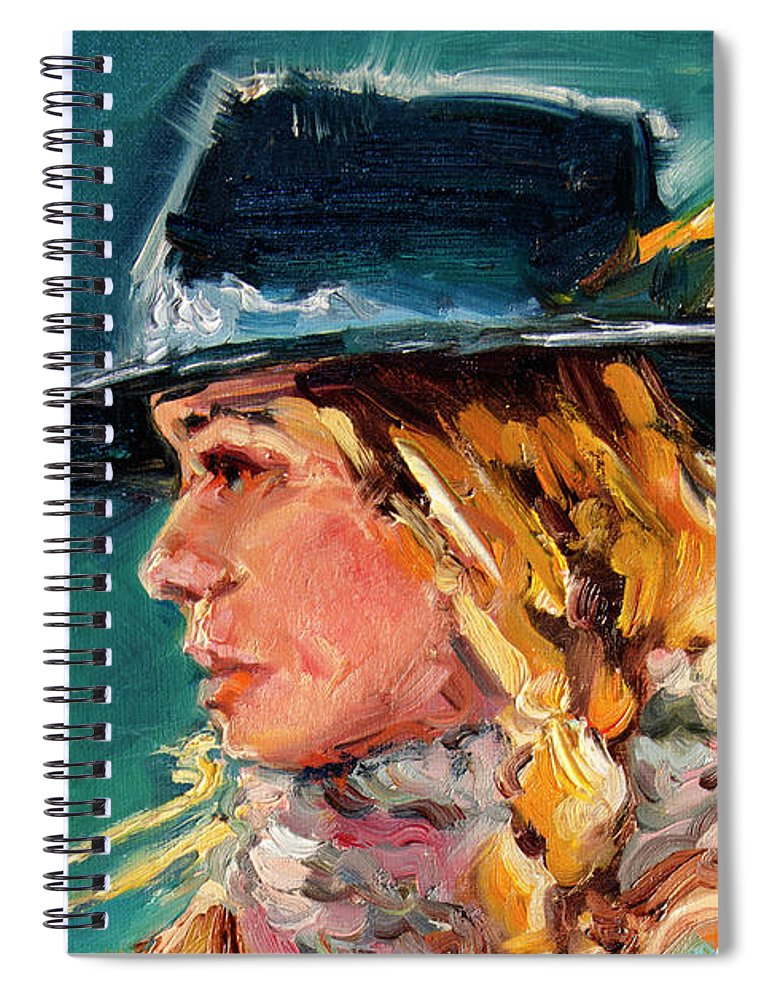 Cowgirl Spiral Notebook featuring the painting Wyoming Cowgirl Close by Diane Whitehead