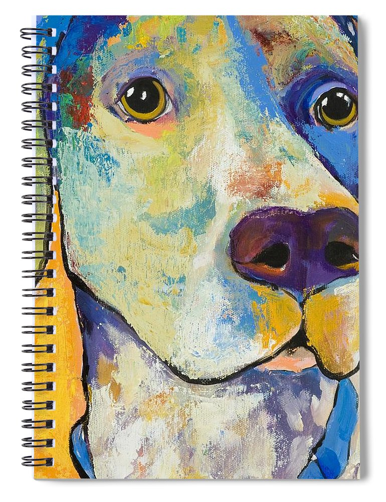German Shorthair Animalsdog Blue Yellow Acrylic Canvas Spiral Notebook featuring the painting Yancy by Pat Saunders-White