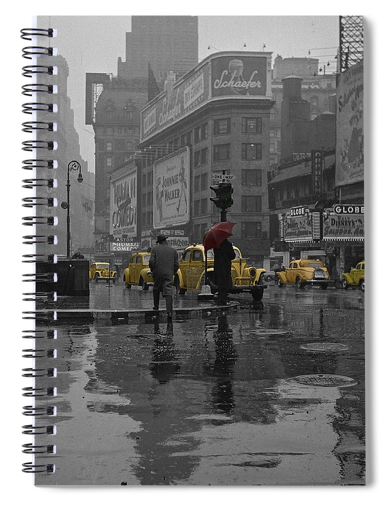 Times Square Spiral Notebook featuring the photograph Yellow Cabs New York by Andrew Fare