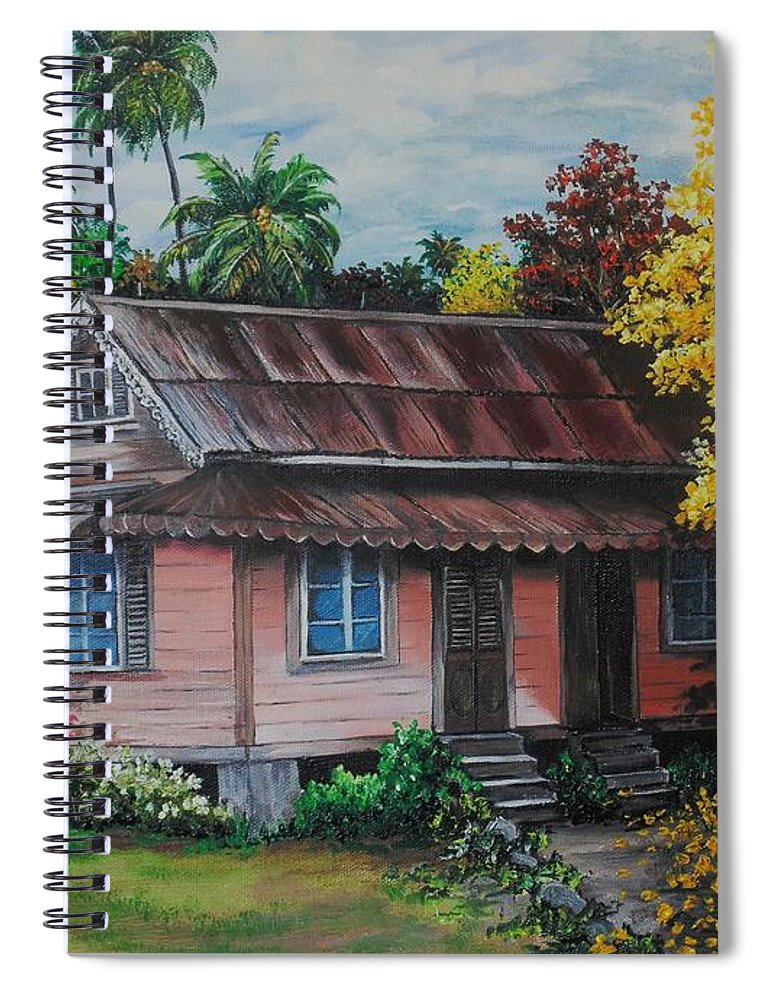 Old House Spiral Notebook featuring the painting Yellow Poui Time by Karin Dawn Kelshall- Best