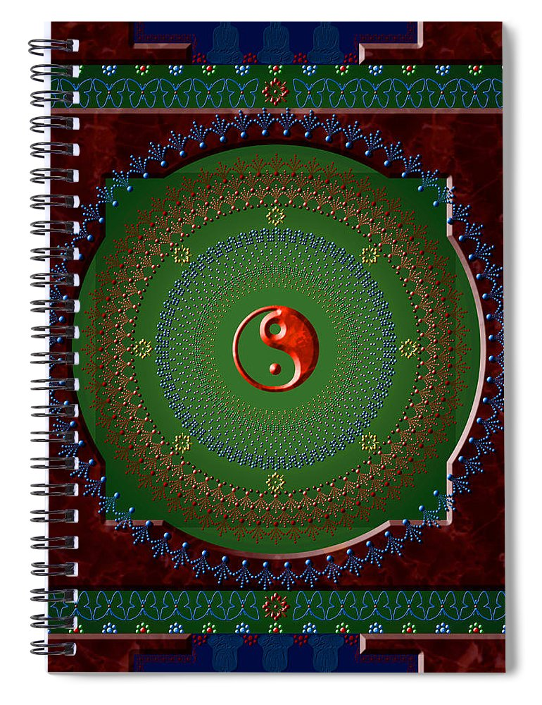 Mandala Spiral Notebook featuring the digital art Yin Yang by Stephen Lucas