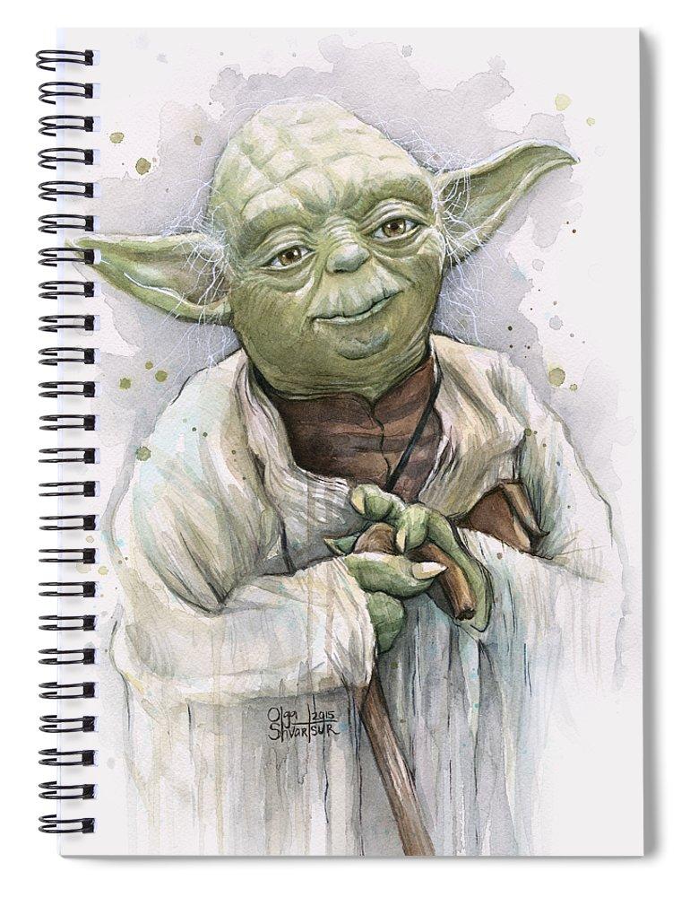 Yoda Spiral Notebook featuring the painting Yoda by Olga Shvartsur
