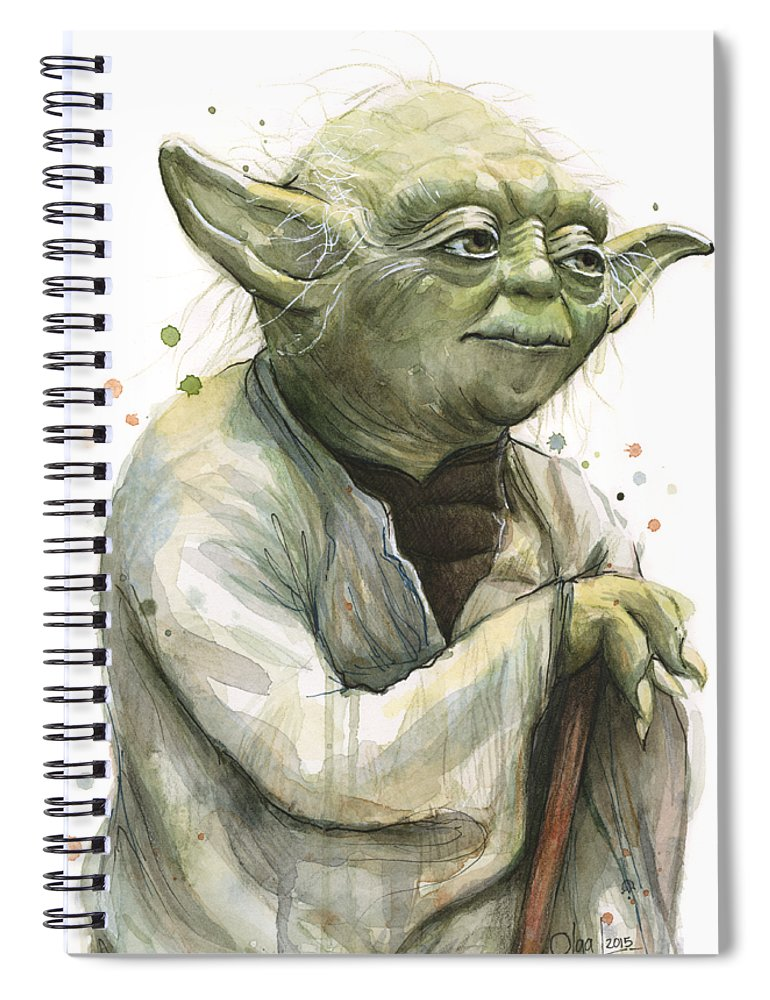 Yoda Spiral Notebook featuring the painting Yoda Portrait by Olga Shvartsur