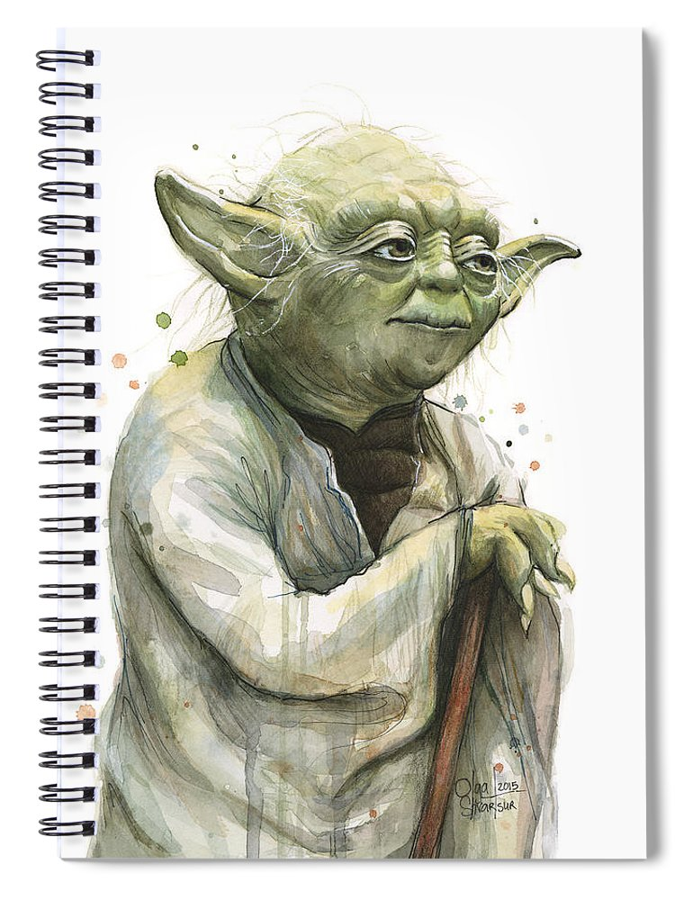 Yoda Spiral Notebook featuring the painting Yoda Watercolor by Olga Shvartsur
