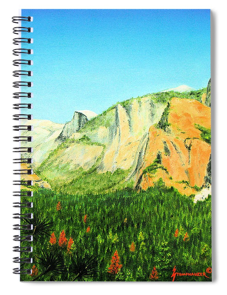 Yosemite National Park Spiral Notebook featuring the painting Yosemite National Park by Jerome Stumphauzer
