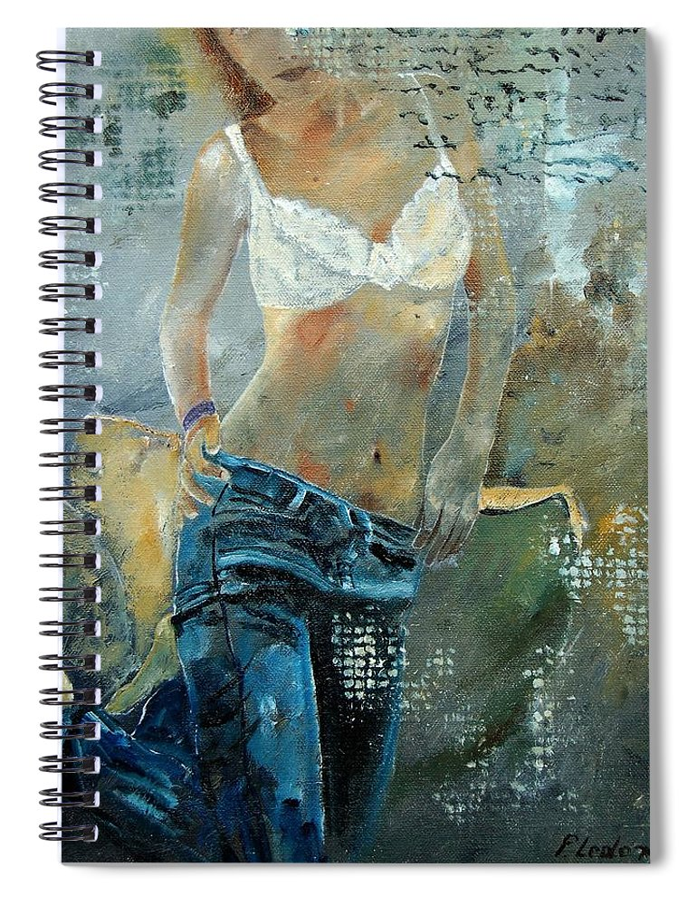 Girl Spiral Notebook featuring the painting Young girl in jeans by Pol Ledent