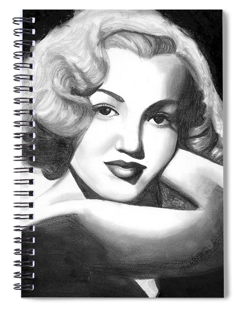 Portrait Spiral Notebook featuring the drawing Young Marilyn by Scarlett Royal