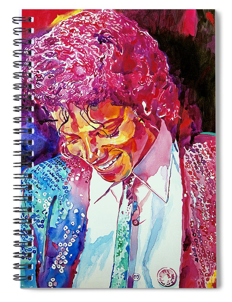 Michael Jackson Spiral Notebook featuring the painting Young Michael Jackson by David Lloyd Glover