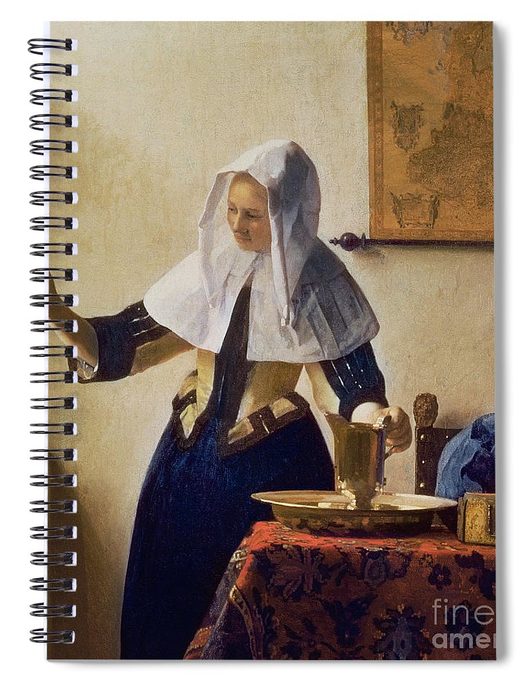 Young Spiral Notebook featuring the painting Young Woman With A Water Jug by Jan Vermeer