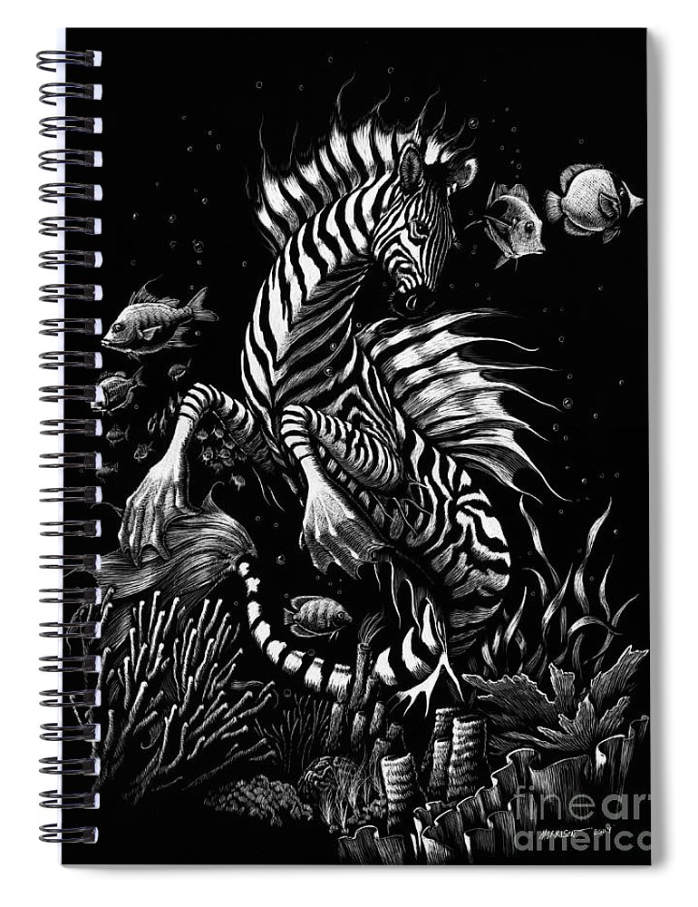 Seahorse Spiral Notebook featuring the drawing Zebra Hippocampus by Stanley Morrison