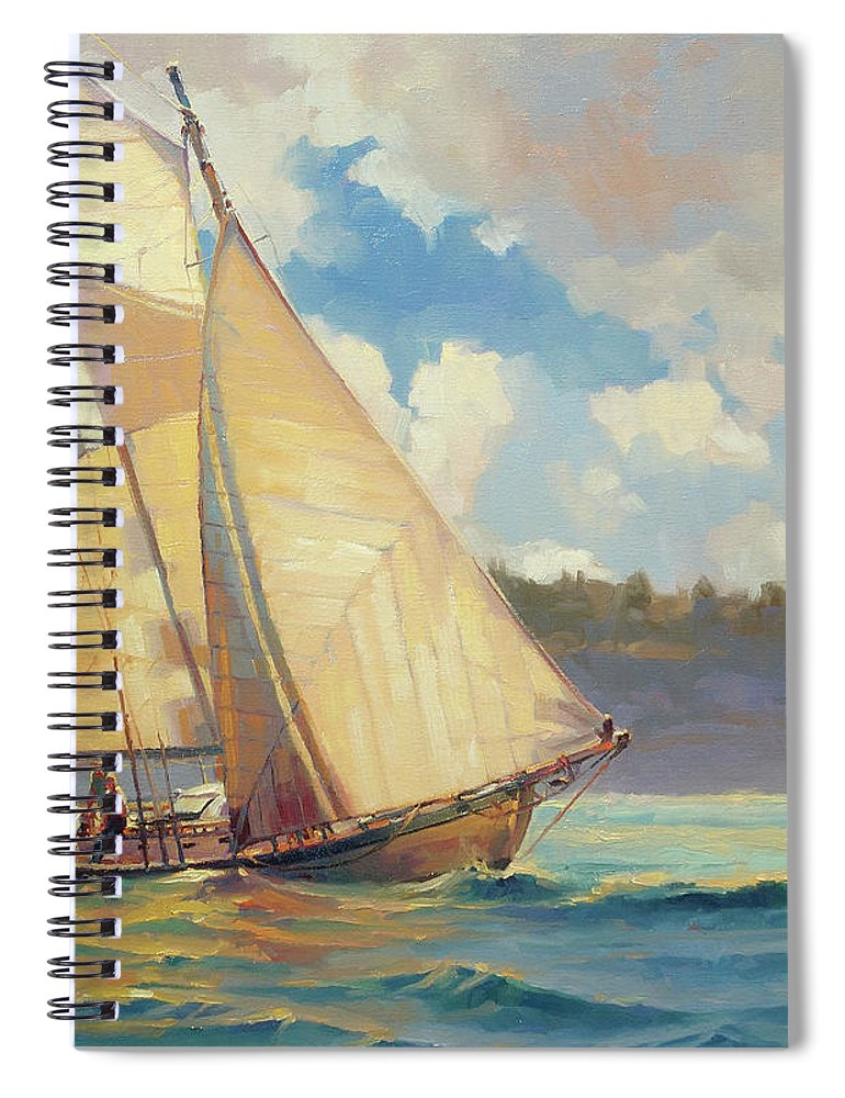 Sailboat Spiral Notebook featuring the painting Zephyr by Steve Henderson