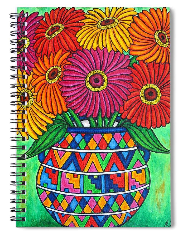 Zinnia Spiral Notebook featuring the painting Zinnia Fiesta by Lisa Lorenz
