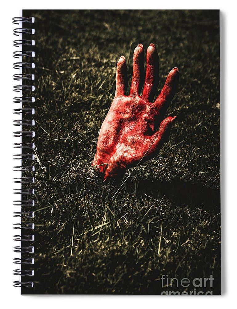 Undead Spiral Notebook featuring the photograph Zombie Rising From A Shallow Grave by Jorgo Photography - Wall Art Gallery