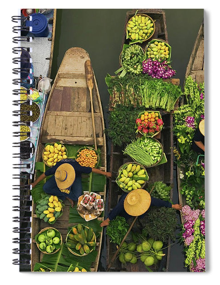 People Spiral Notebook featuring the photograph A Floating Market On A Canal In by Mint Images - Art Wolfe