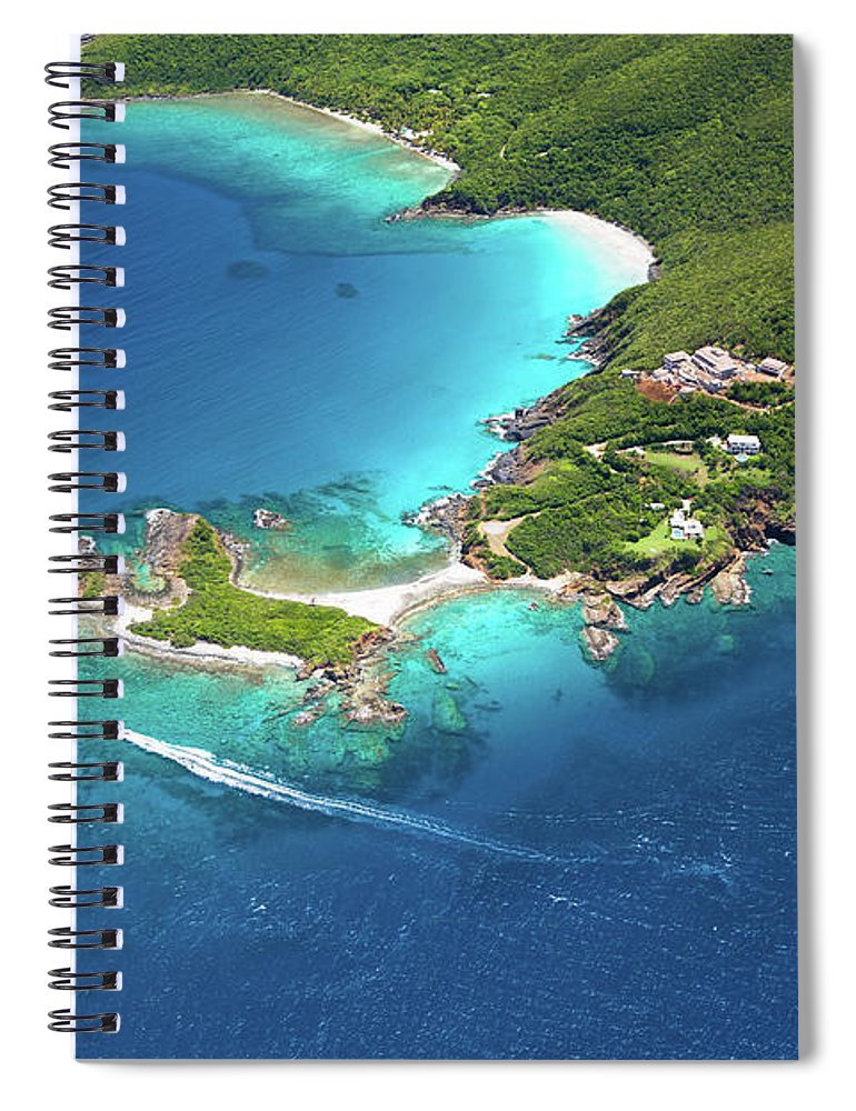 Water's Edge Spiral Notebook featuring the photograph Aerial Shot Of West End, St. Thomas, Us by Cdwheatley