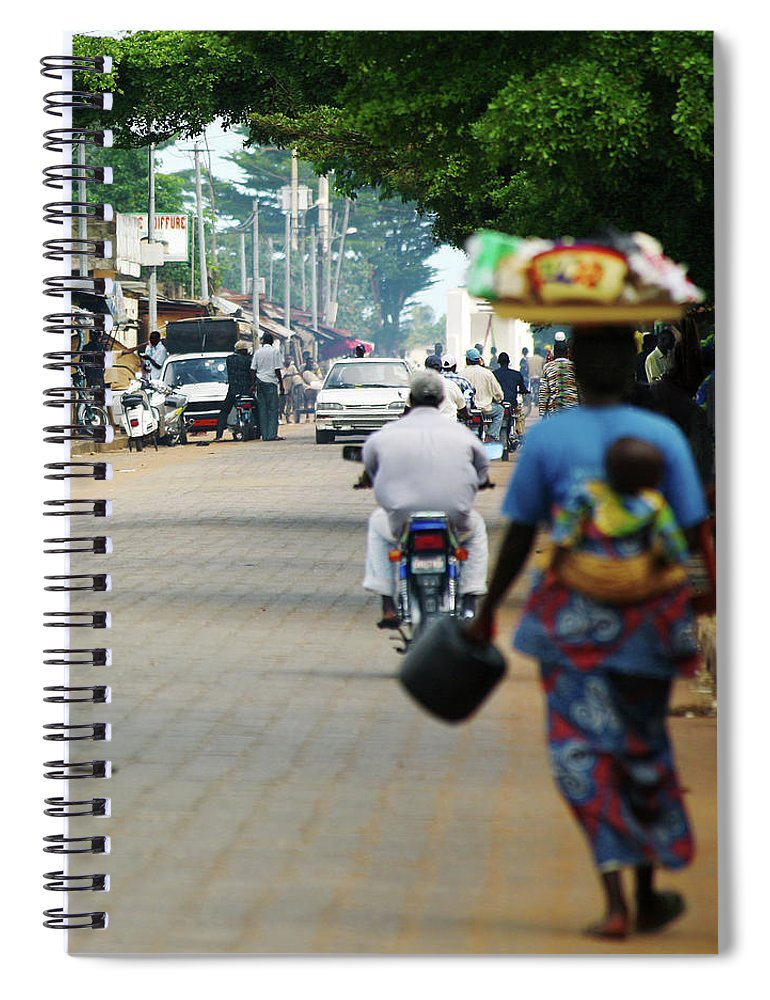 Trading Spiral Notebook featuring the photograph African Street Scene by Peeterv