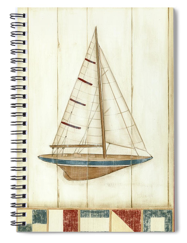 Nautical Spiral Notebook featuring the painting Americana Yacht II by Ethan Harper