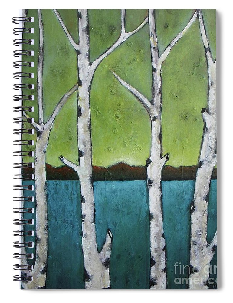 Aspen Spiral Notebook featuring the photograph Aspen Trees On The Lake by Vesna Antic