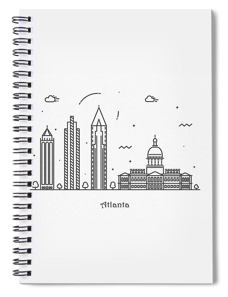 Atlanta Spiral Notebook featuring the drawing Astana Cityscape Travel Poster by Inspirowl Design