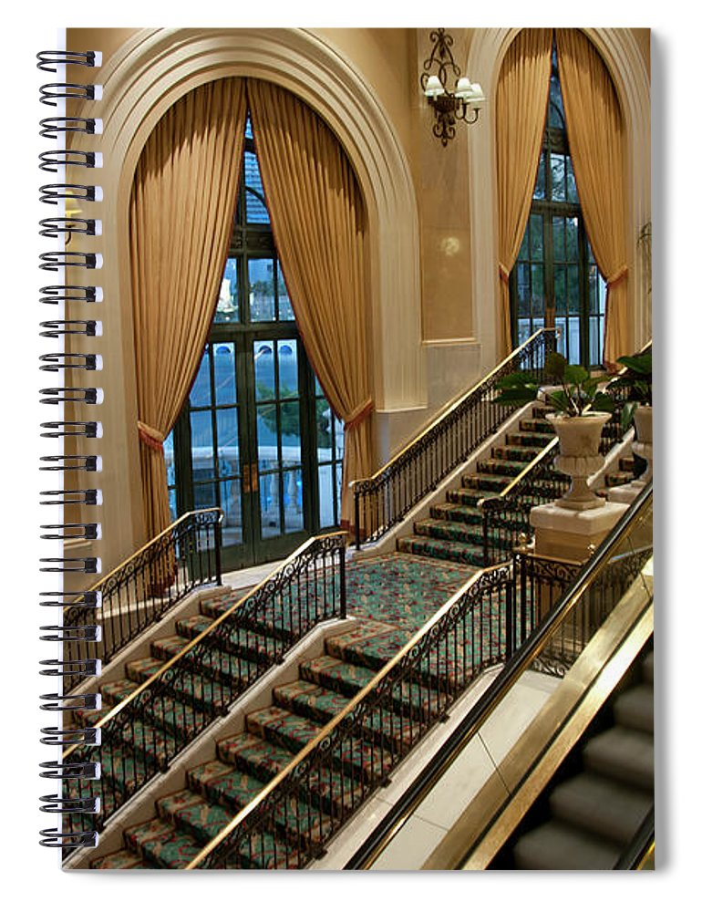 Arch Spiral Notebook featuring the photograph Bellagio Interior by Mitch Diamond