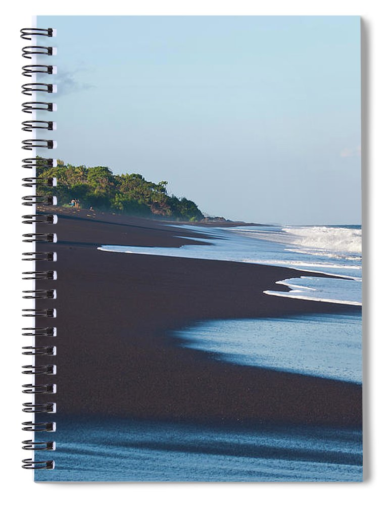 Long Spiral Notebook featuring the photograph Black Sand Beach by Davorlovincic