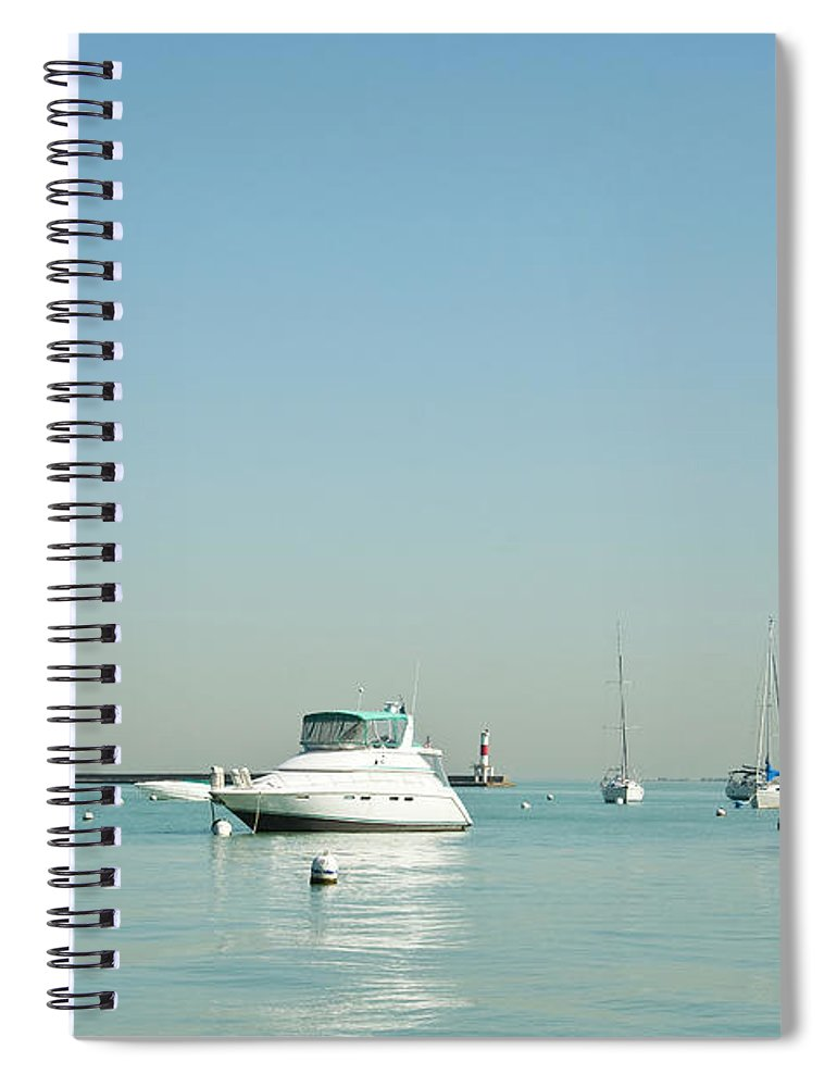 Billabong Spiral Notebook featuring the photograph Boats On Lake Michigan by Weible1980