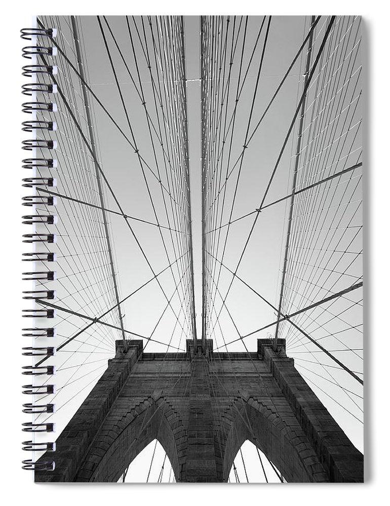 Arch Spiral Notebook featuring the photograph Brooklyn Bridge by Jimschemel