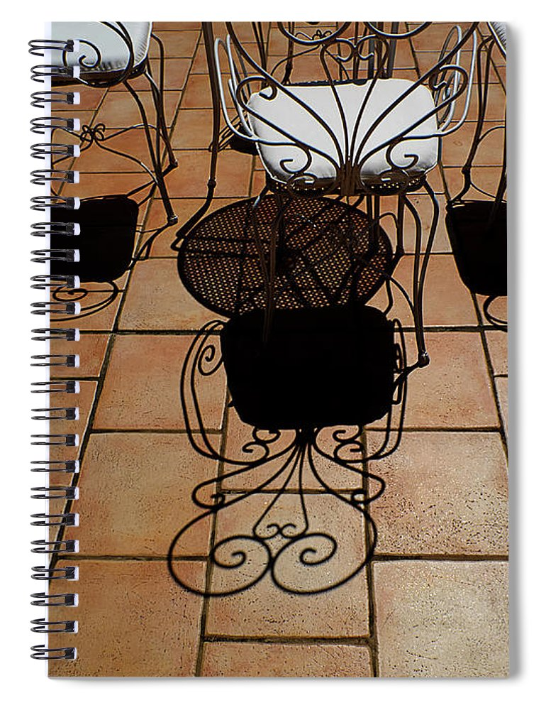 Chairs Spiral Notebook featuring the photograph Chairs And Shadows by Mike Nellums