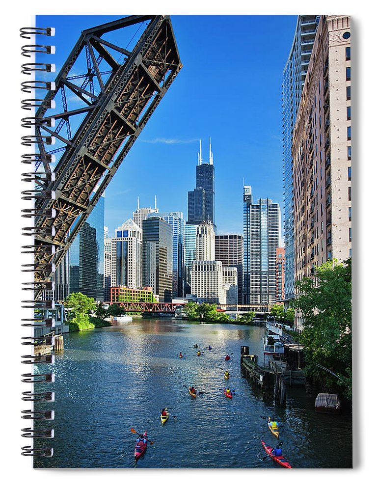 Chicago River Spiral Notebook featuring the photograph Chicago, Il by Adam Jones