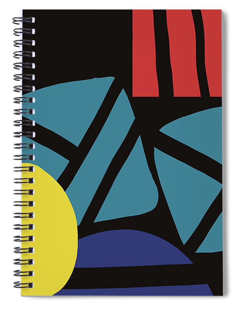 Abstract Spiral Notebook featuring the digital art Colorful Bento 3- Art By Linda Woods by Linda Woods