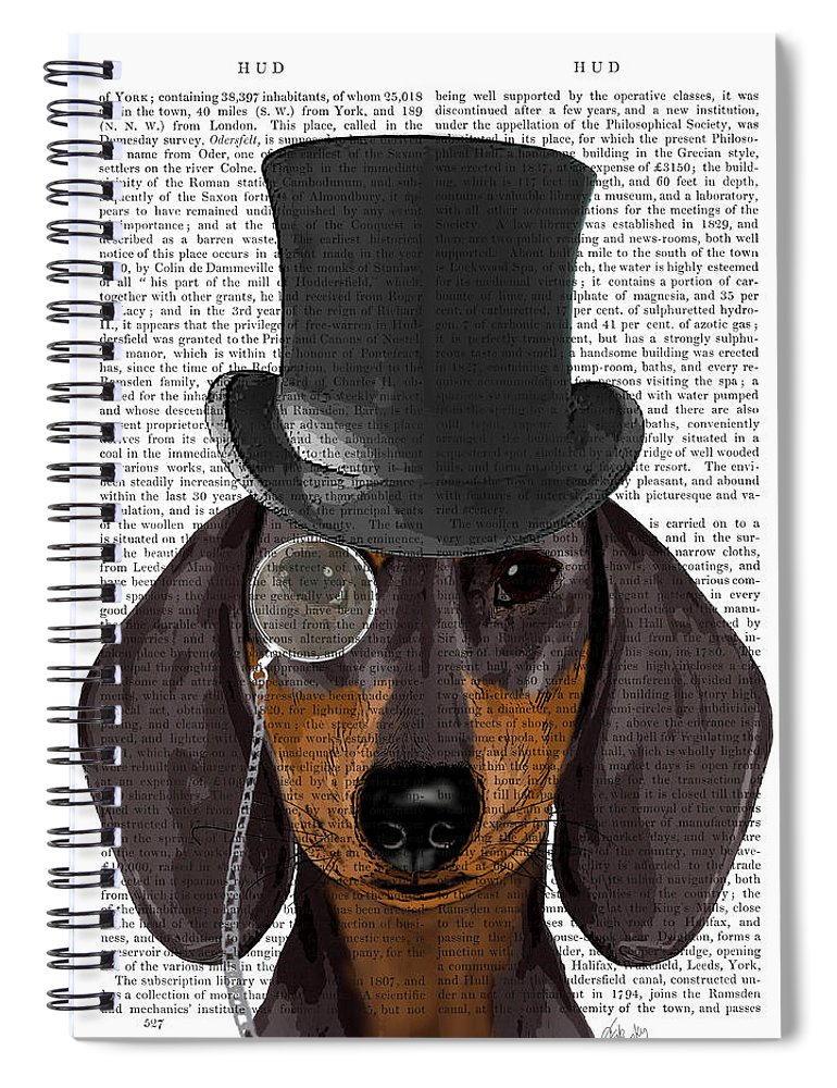 Steampunk Spiral Notebook featuring the painting Dachshund, Formal Hound And Hat by Fab Funky