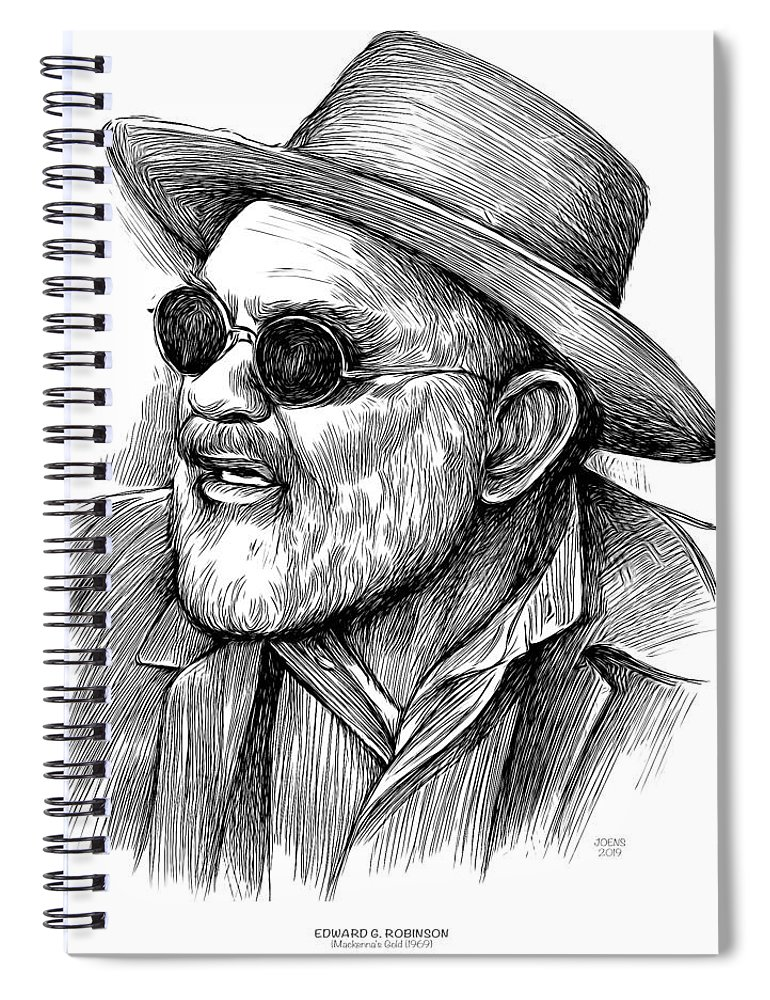 Edward G Robinson Spiral Notebook featuring the drawing Edward G Robinson 1 by Greg Joens