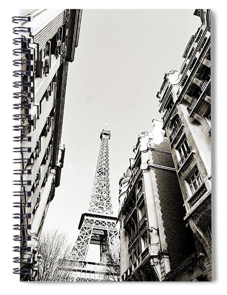 Built Structure Spiral Notebook featuring the photograph Eiffel Tower Between Buildings In by Flory