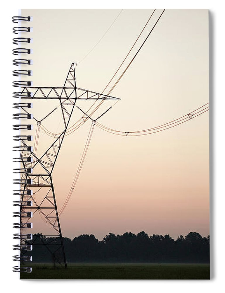 Tranquility Spiral Notebook featuring the photograph Electrical Power Lines Against The by Wesley Hitt