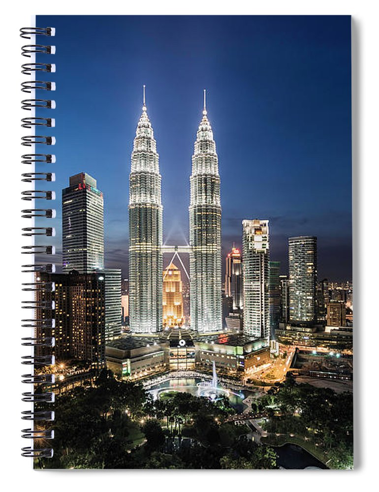 Built Structure Spiral Notebook featuring the photograph Elevated View Of The Petronas Towers At by Martin Puddy